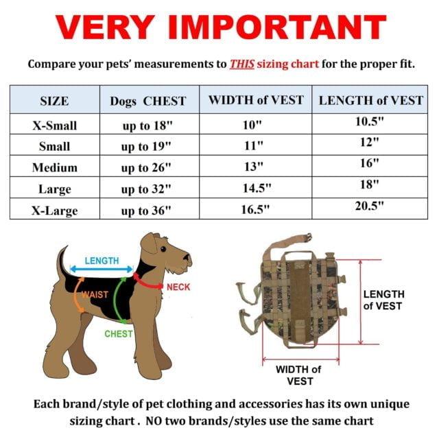 Dog life vest sizing chart